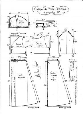 Esquema de modelagem de vestido de festa  império tamanho 42.