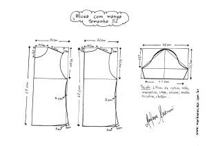 Esquema de modelagem de Blusa Básica tamanho 52.