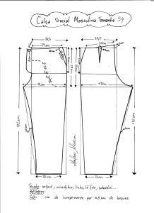 Esquema de modelagem de calça social masculina tamanho 54.