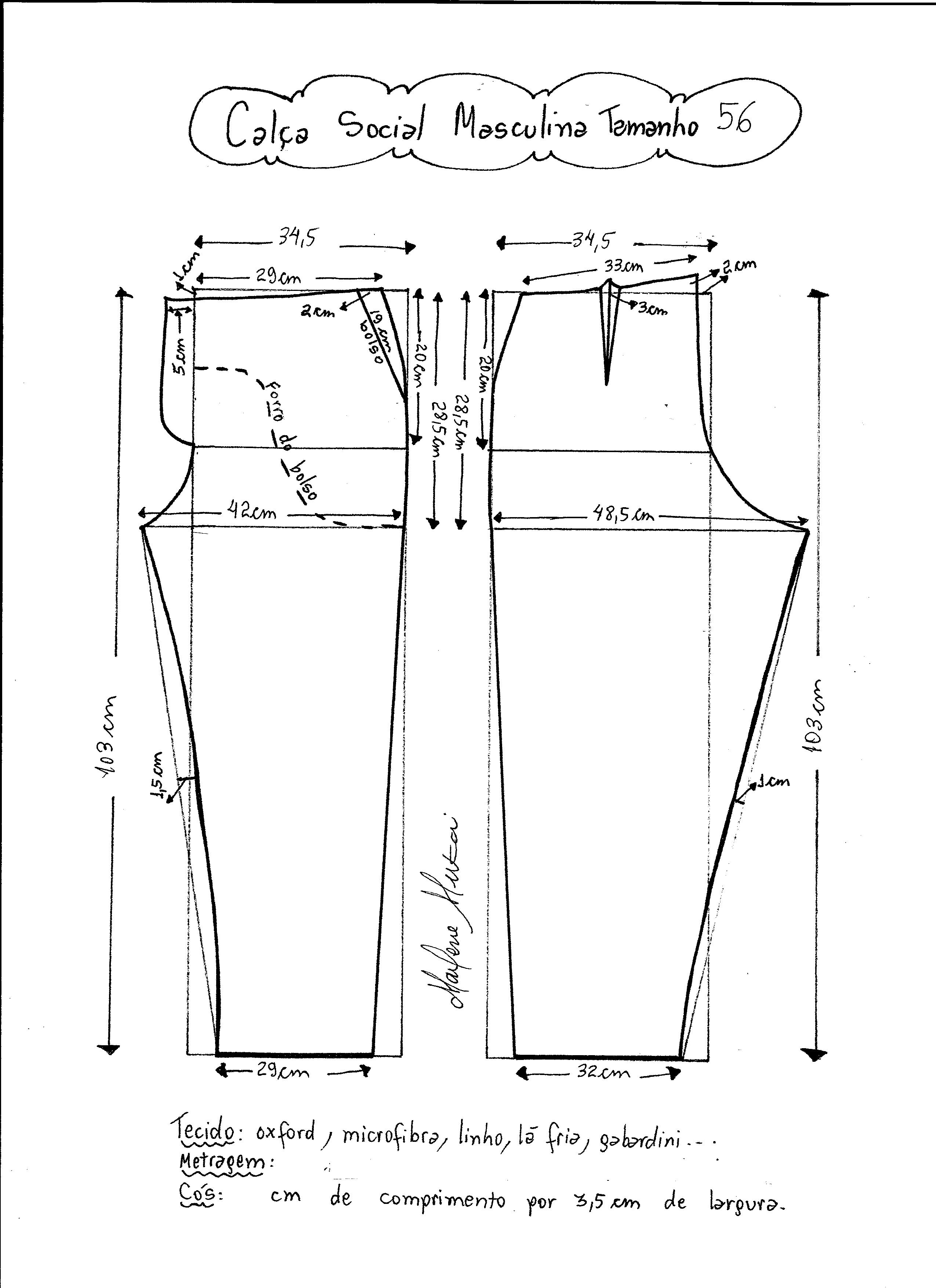 906d2e2b5 Esquema de modelagem de calça social masculina tamanho 56.
