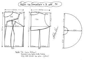 Esquema de modelagem de vestido com transparência godê tamanho 36.