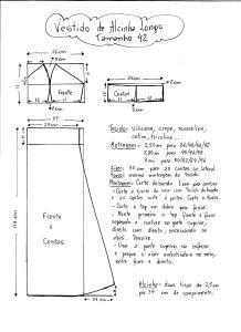 Esquema de Modelagem do Vestido de Alcinha tamanho 42.