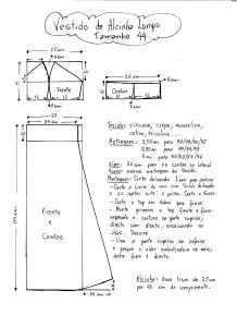 Esquema de Modelagem do Vestido de Alcinha tamanho 44.