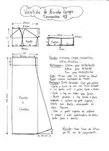 Esquema de Modelagem do Vestido de Alcinha tamanho 48.