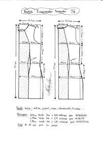 Esquema de modelagem de vestido tubinho que afina a silhueta tamanho 56.