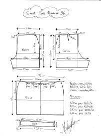 Esquema de modelagem de short saia tamanho 36.