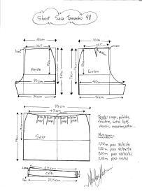 Esquema de modelagem de short saia tamanho 48.