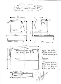 Esquema de modelagem de short saia tamanho 50.