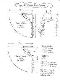 Esquema de modelagem de Rega de Alcinha Godê tamanho G.