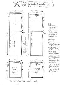 Esquema de modelagem de Saia Longa com Renda tamanho PP (34/36).