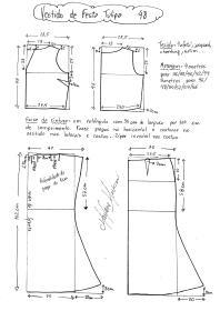 Esquema de modelagem de vestido de festa Tulipa tamanho 48.