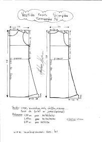 Esquema de modelagem de Vestido Regata Simples tamanho 36.