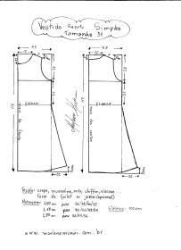 Esquema de modelagem de Vestido Regata Simples tamanho 54.