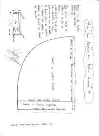 Esquema de modelagem de Saia com Abertura circular tamanho G.