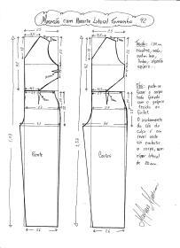 Esquema de modelagem de Macacão com Recorte Lateral tamanho 42