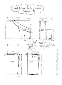 Esquema de modelagem de Vestido com decote Cruzado tamanho 44.