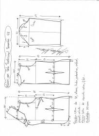 Esquema de modelagem de blazer com gola tradicional tamanho 48.