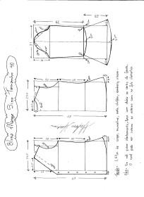 Esquema de modelagem de Blusa com Manga Sino tamanho 40.