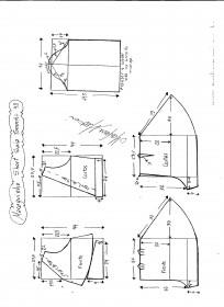 Esquema de modelagem de Macaquinho com short saia godê tamanho 48.