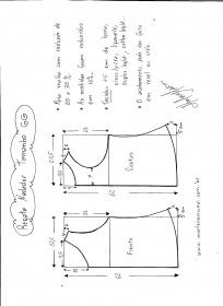 Esquema de Modelagem de regata nadador tamanho GG.