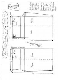 Esquema de modelagem de Calça Pareô, Wrap ou Envelope tamanho 54.