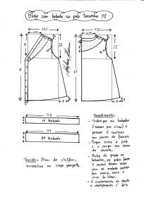 Esquema de modelagem de blusa com pala e babado tamanho 38.