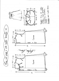 Esquema de modelagem de blusa com pregas e gola boneca tamanho 52.