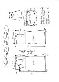 Esquema de modelagem de blusa com pregas e gola boneca tamanho 54.