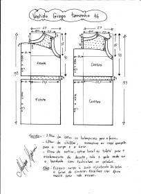 Esquema de vestido de festa estilo grego tamanho 46.