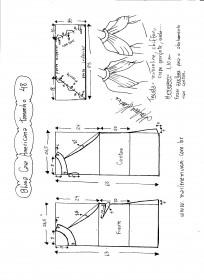 Esquema de modelagem de Blusa com cava americana e drapeado solto tamanho 48.