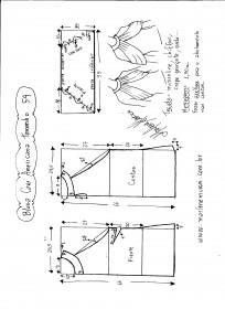 Esquema de modelagem de Blusa com cava americana e drapeado solto tamanho 54.