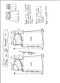Esquema de modelagem de blusa com pala e renda tamanho 38.