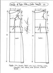 Esquema de modelagem de vestido de festa ombro a ombro tamanho 38.
