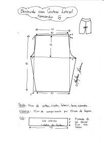 Esquema de modelagem de bermuda em malha sem costura lateral tamanho G.