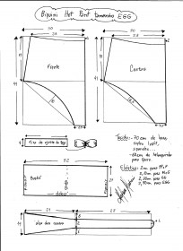 Esquema de modelagem de biquíni hot pant tamanho EGG.