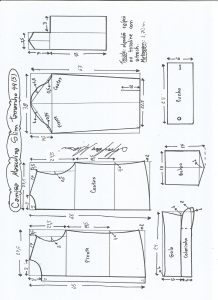Esquema de modelagem de camisa slim tamanho 44.