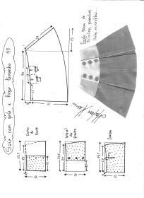 Esquema de modelagem de saia com pala e pregas fêmea tamanho 48.