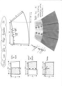 Esquema de modelagem de saia com pala e pregas fêmea tamanho 50.
