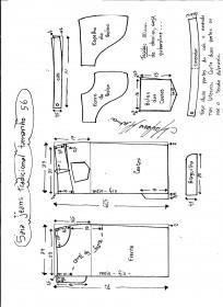 Esquema de modelagem de saia jeans tradicional tamanho 56.