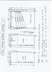 Esquema de modelagem de saia lápis com drapeado tamanho 46.