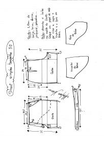 Esquema de modelagem de short simples cós médio tamanho 50.