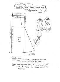 Esquema de modelagem de vestido fácil com cava americana tamanho 40.