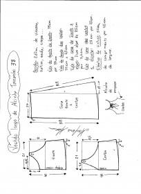 Esquema de modelagem de vestido de alcinha tamanho 38.