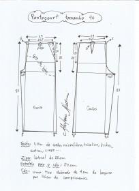 Esquema de modelagem de pantacourt tamanho 46.