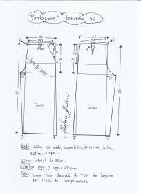 Esquema de modelagem de pantacourt tamanho 52.