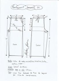 Esquema de modelagem de pantacourt tamanho 54.