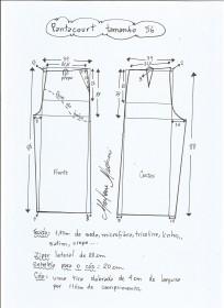Esquema de modelagem de pantacourt tamanho 56.