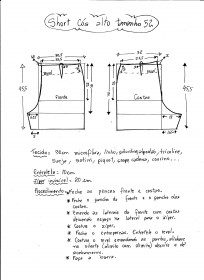 Esquema de modelagem de short cintura alta tamanho 52.