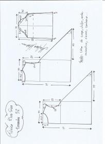 Esquema de modelagem de Túnica Plus Size tamanho 52.