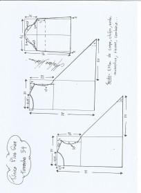 Esquema de modelagem de Túnica Plus Size tamanho 54.